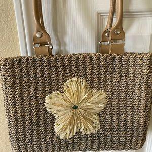Handbags - Boho raffia vacation beach bag tote
